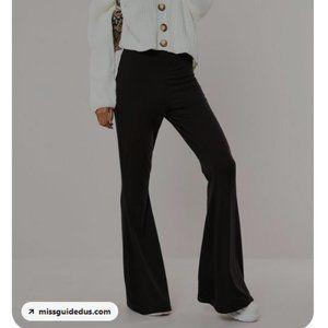 Tall black jersey kick flare leggings-- Mi…